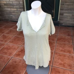 Madewell Tee Light Green Peasant Short Sleeve Top